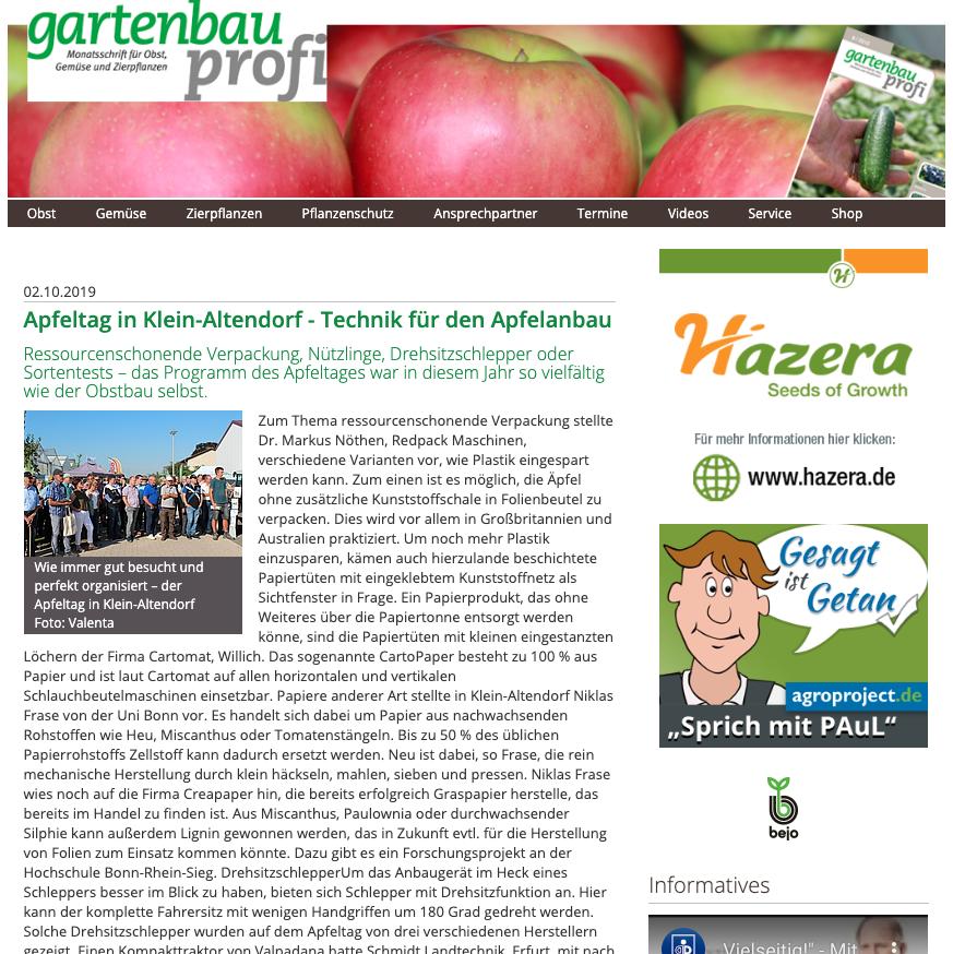 Apfeltag in Klein-Altendorf - Technik für den Apfelanbau
